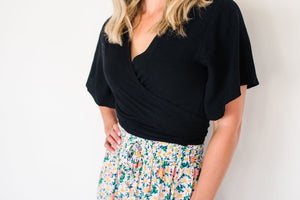 Brea wrap top - black