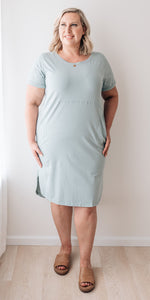 Sophie tee dress - sea foam