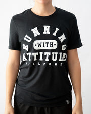 """Running With Attitude"" Athleisure Shirt (Black)"
