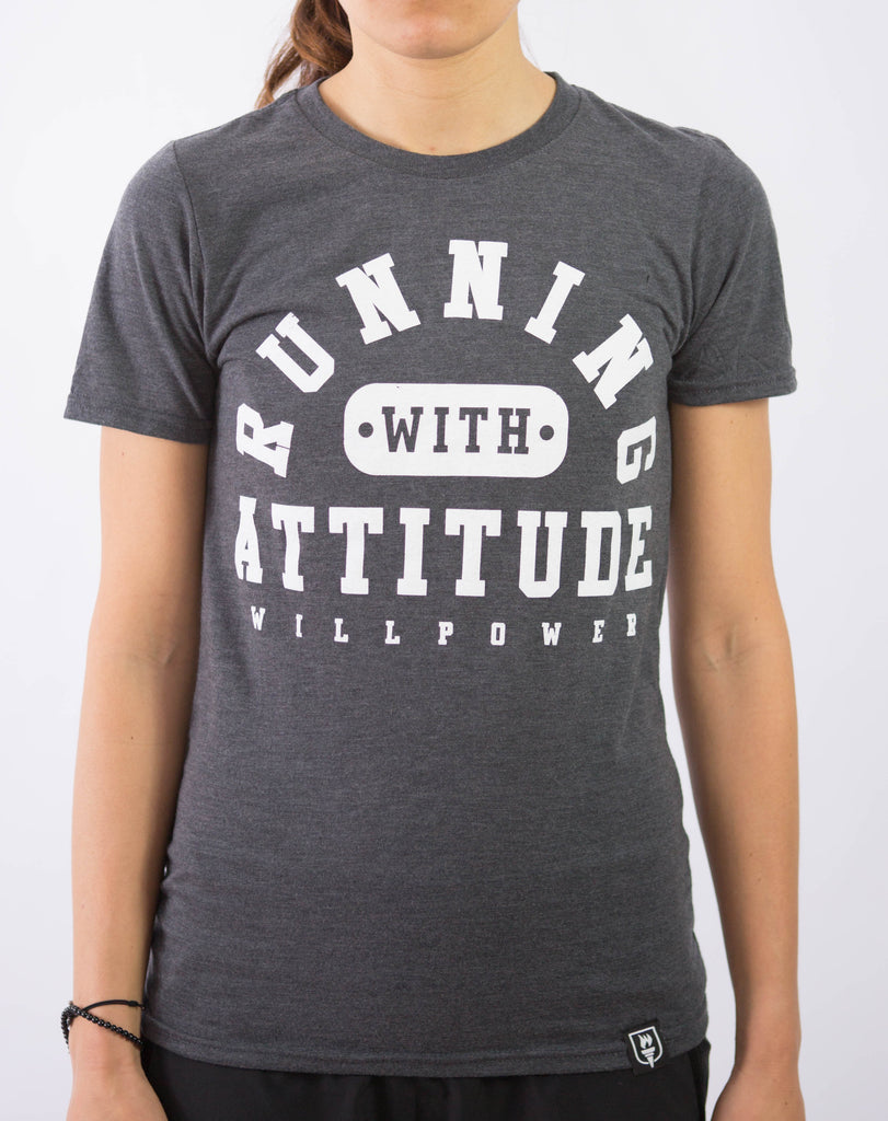 """Running With Attitude"" Shirt (Grey) Only M and L left"