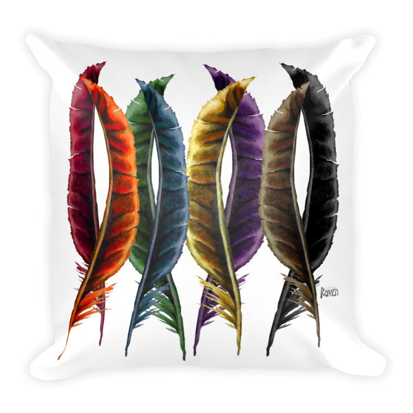 Rainbow Feathers Square Pillow