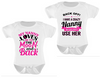 2 pack Crazy Nanny Pink & To The Moon And Back Pink, Funny baby Bodysuits