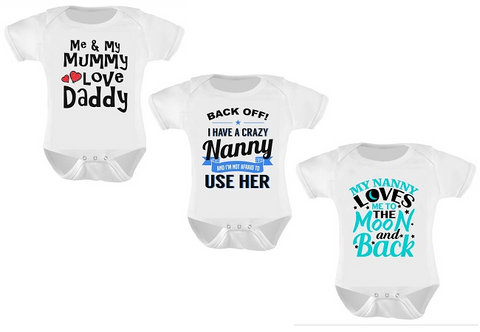 3 pack. Me & Mummy, Crazy Nanny, To The Moon Funny Baby Bodysuits