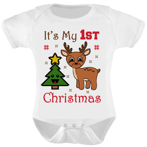 Baby Grow Vest Gift. Its My First Christmas Reindeer Baby Bodysuit