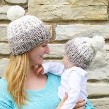 Grey Pom Pom Matching Mother and Baby Hat
