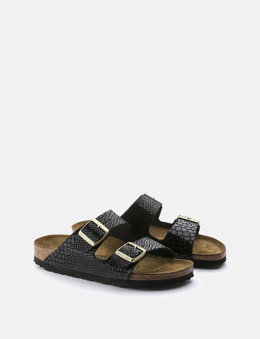 Womens Birkenstock Arizona Sandals (Regular) - Shiny Snake Black