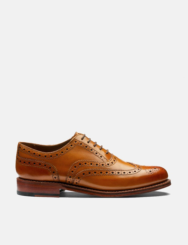 Grenson Stanley Calf Brogue Shoes - Tan
