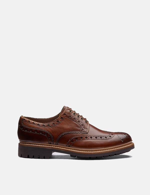 Grenson Archie Brogue Shoes - Tan