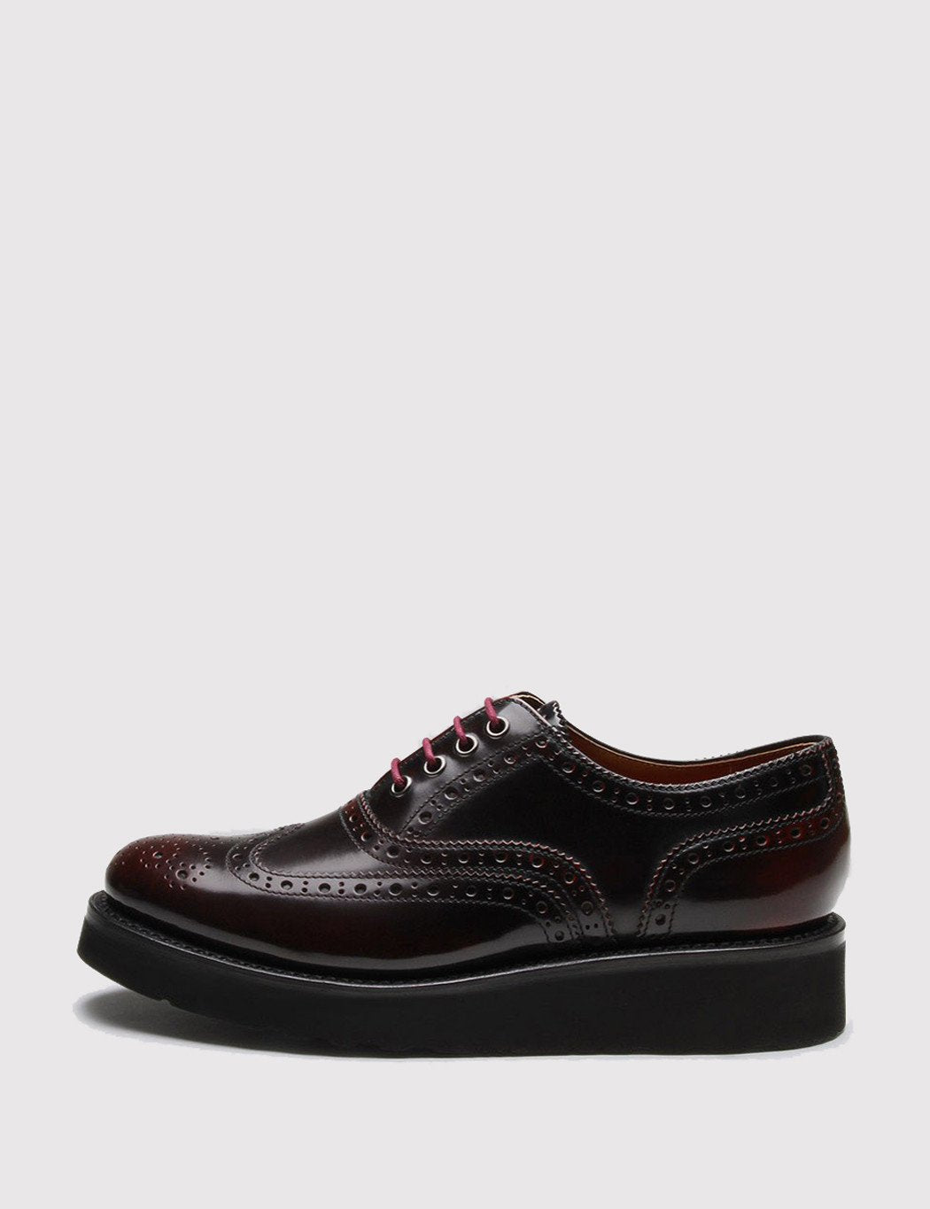 Womens Grenson Emily Brogue Shoes - Burgundy