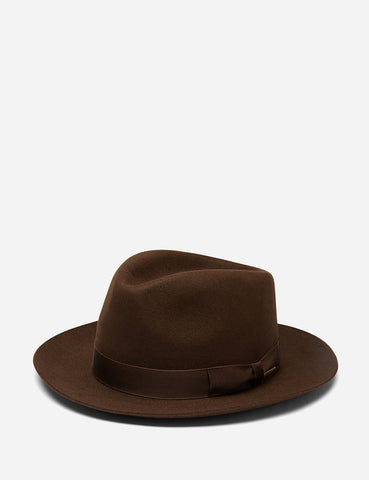 Stetson Penn Fedora Hat - Dark Brown