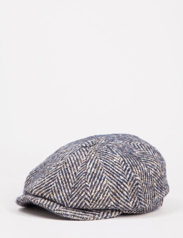 Stetson Hatteras Herringbone Newsboy Hat - Brown/Blue