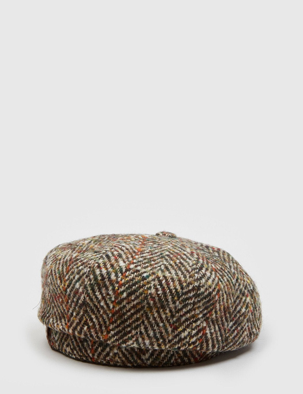 Stetson Hatteras Herringbone Newsboy Cap - Brown/Green