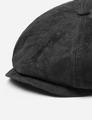 Stetson Hatteras Pigskin Newsboy Cap (Leather) - Black