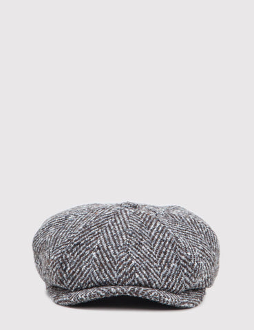 Stetson Hatteras Herringbone Newsboy Hat - Grey/Brown