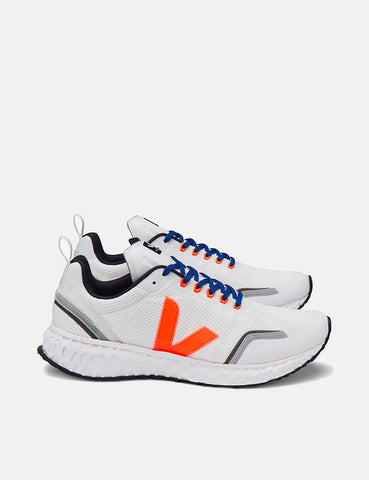 Veja Condor Mesh Running Shoes - White/Orange Fluo