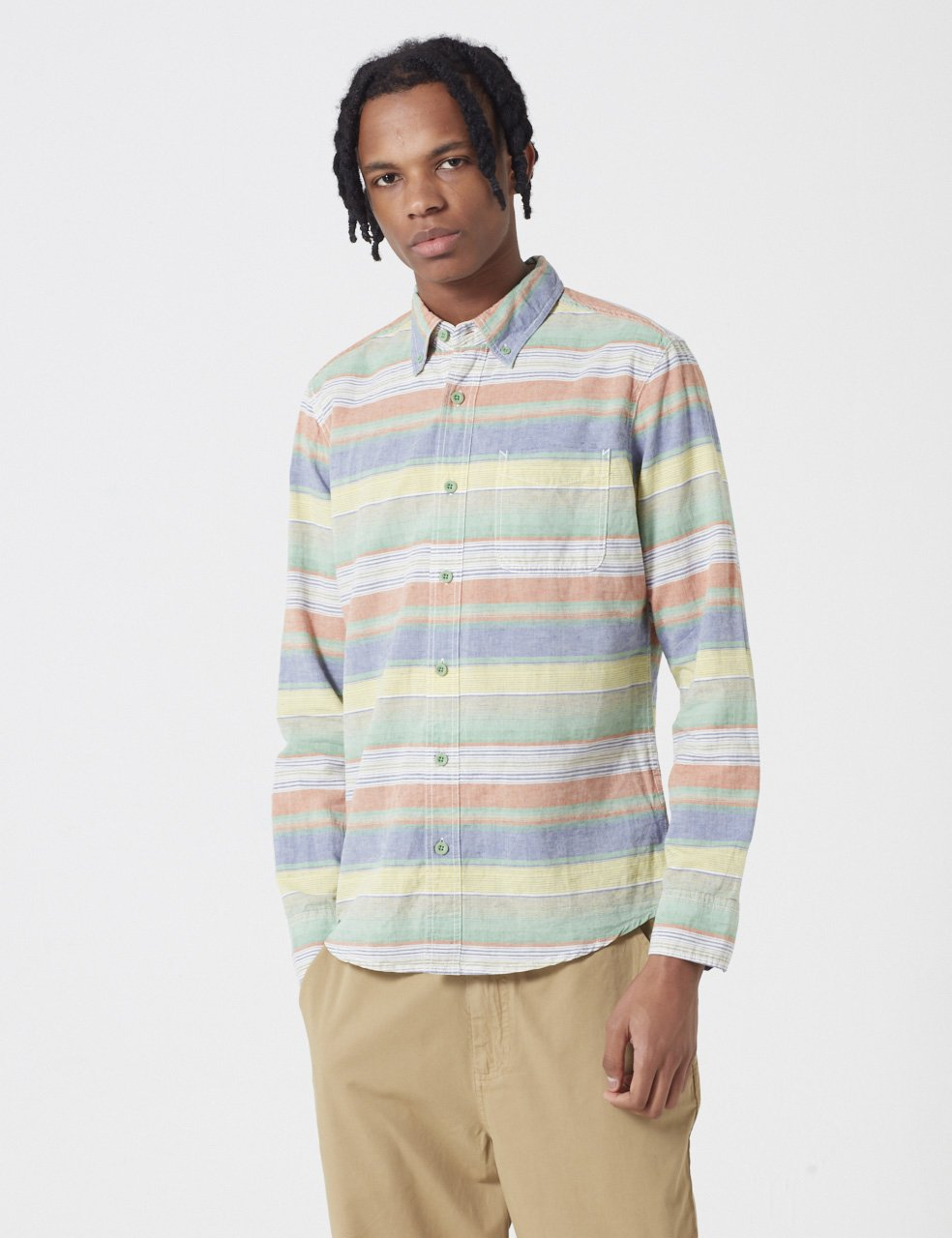 Deus Ex Machina Albie Opal Stripe Shirt - Blue/Green/Red/Yellow