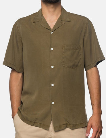 Portuguese Flannel Dogtown Short Sleeve Shirt - Olive Green