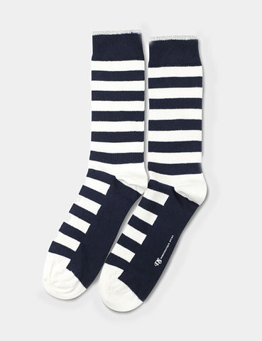 Democratique Original Striper Socks - Navy/White