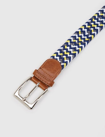 Hone Woven Plait Belt - Blue/Yellow