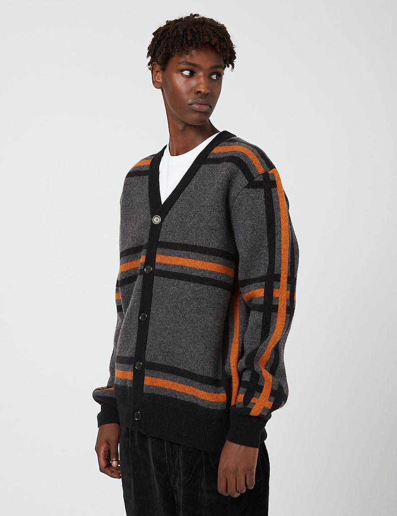 Edwin Geometric Cardigan Sweater - Grey/Black/Auburn