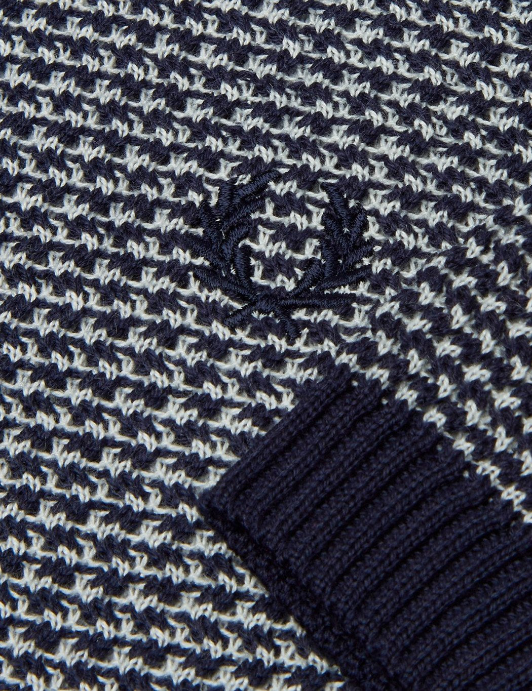 Fred Perry Two Colour Knit Button Neck - Navy