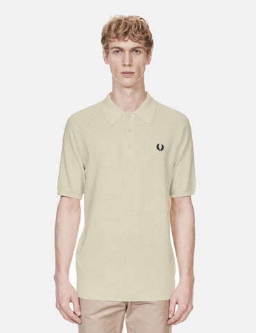 Fred Perry Short Sleeve Raglan Knitted Shirt - Ecru
