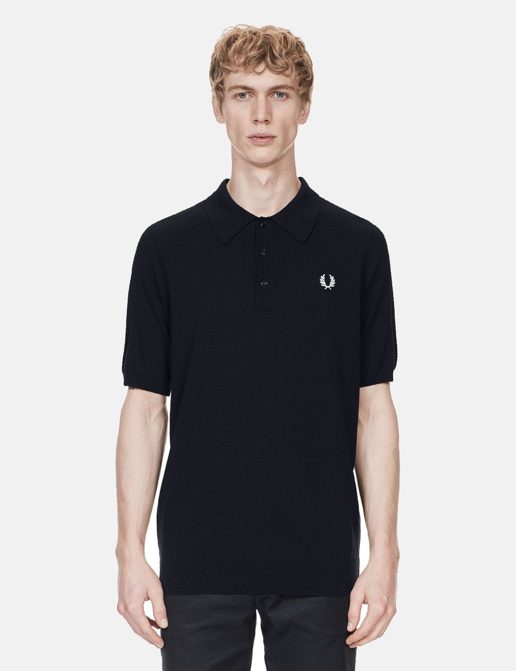 Fred Perry Short Sleeve Raglan Knitted Shirt - Navy