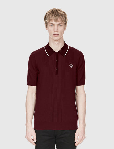 Fred Perry Pointelle Knit Shirt - Aubergine