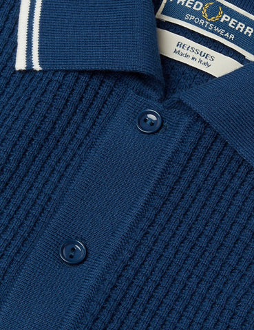 Fred Perry Textured Knitted FP Shirt - French Navy