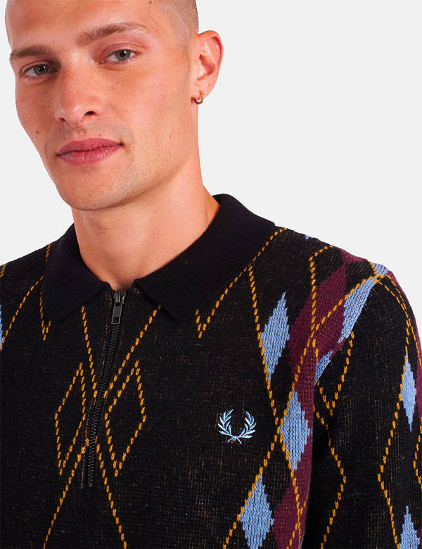 Fred Perry Argyle Zip Neck Jumper - Black