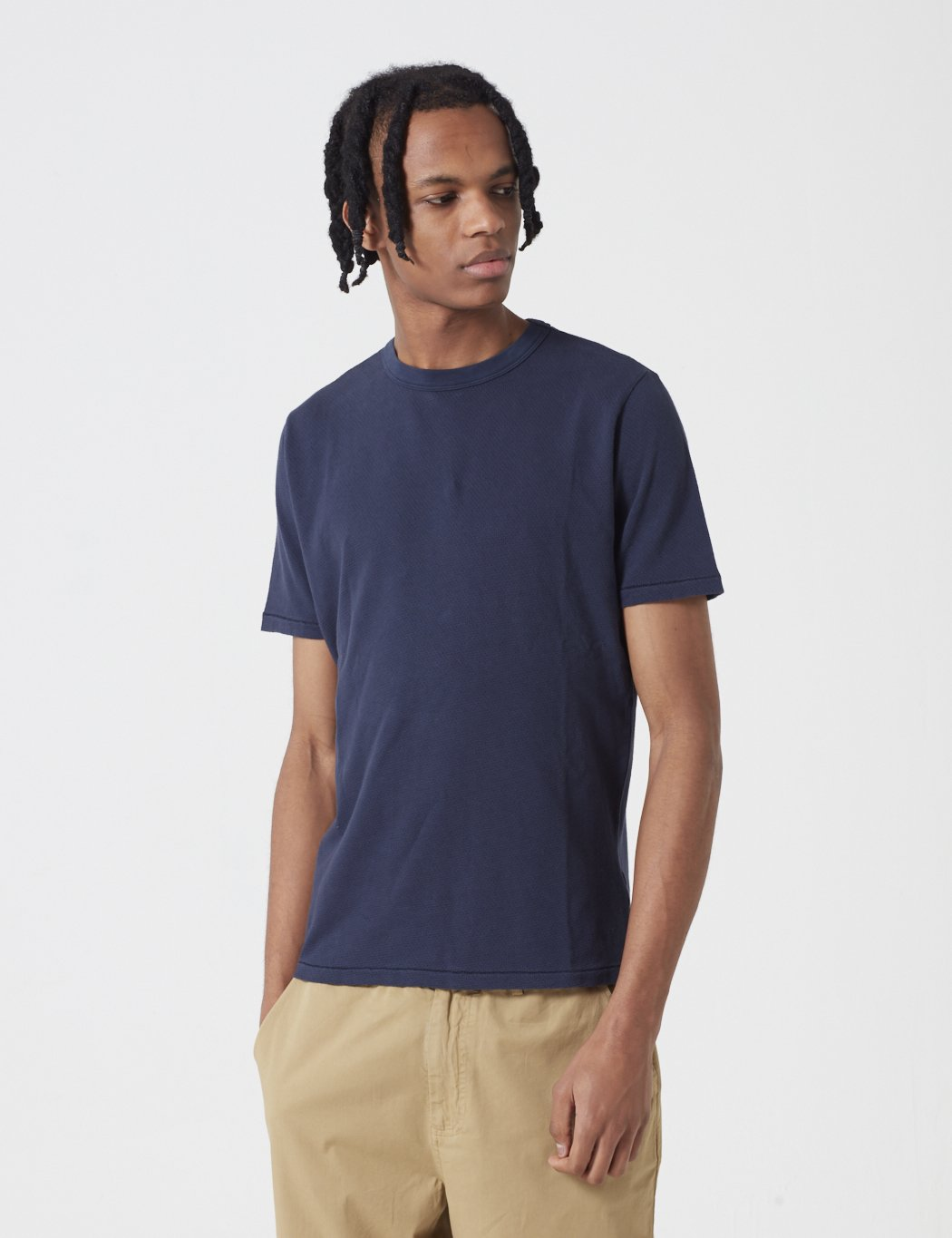 Les Basics Le Crew T-Shirt - Navy Blue