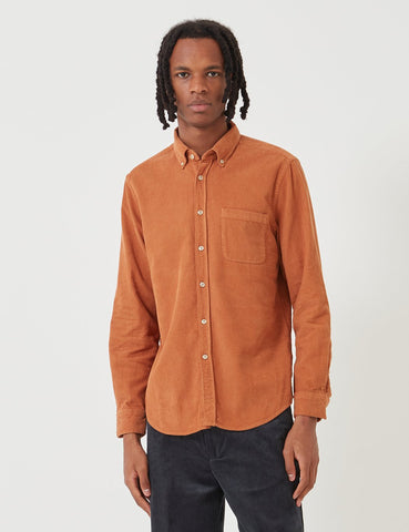 Portuguese Flannel Lobo Shirt (Cord) - Pastel Brick Orange