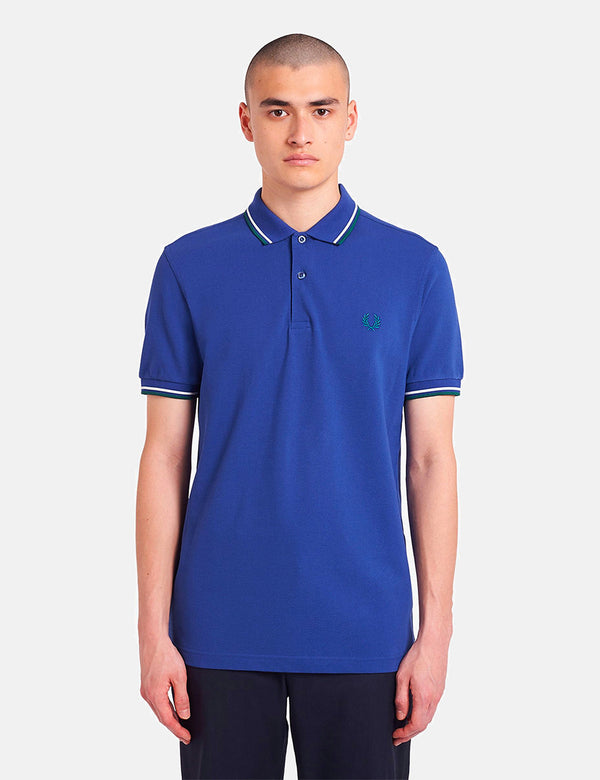 Fred Perry Twin Tipped Polo Shirt - Nautical Blue/Snow White/Light Petrol