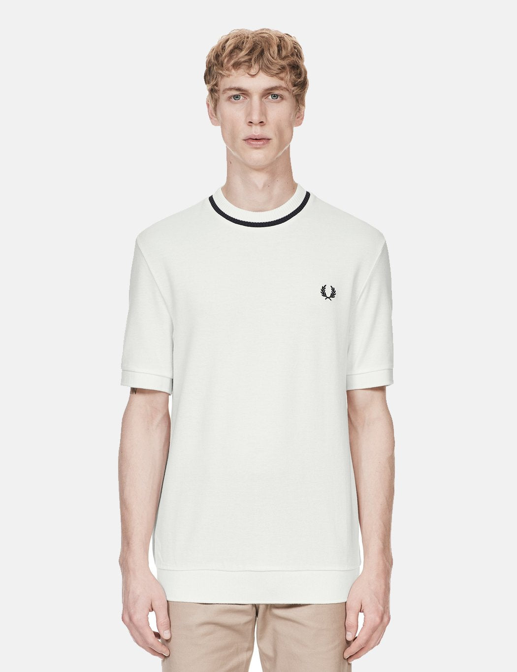 Fred Perry Crew Neck Pique T-Shirt - Snow White/Navy Blue