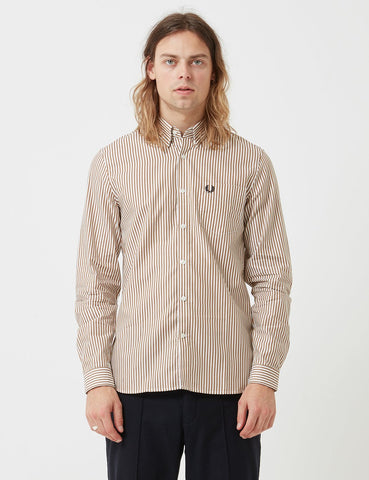 Fred Perry Stripe Twill Shirt - Dark Caramel Brown