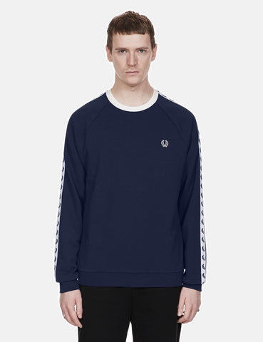 Fred Perry Taped Crew Neck Sweatshirt - Carbon Blue