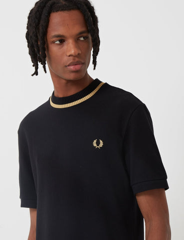 Fred Perry Re-issues Crew Neck Pique T-Shirt - Black/Champagne