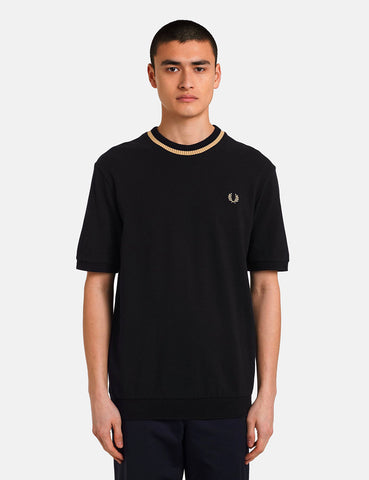 Fred Perry Reissues Crew Neck Pique T-Shirt (Made in England) - Black/Champagne