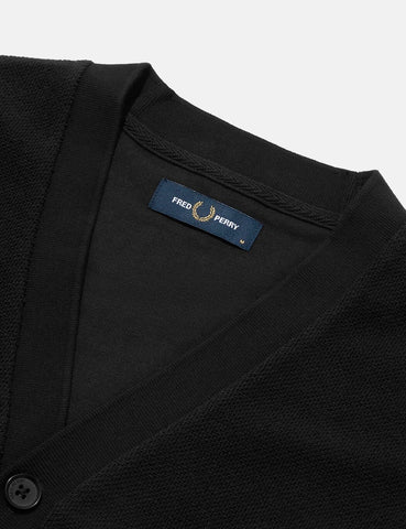 Fred Perry Pique Cardigan - Black