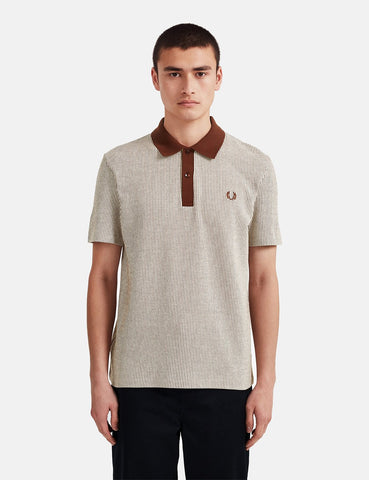 Fred Perry Reissue Vertical Striped Tennis Polo Shirt - Auburn