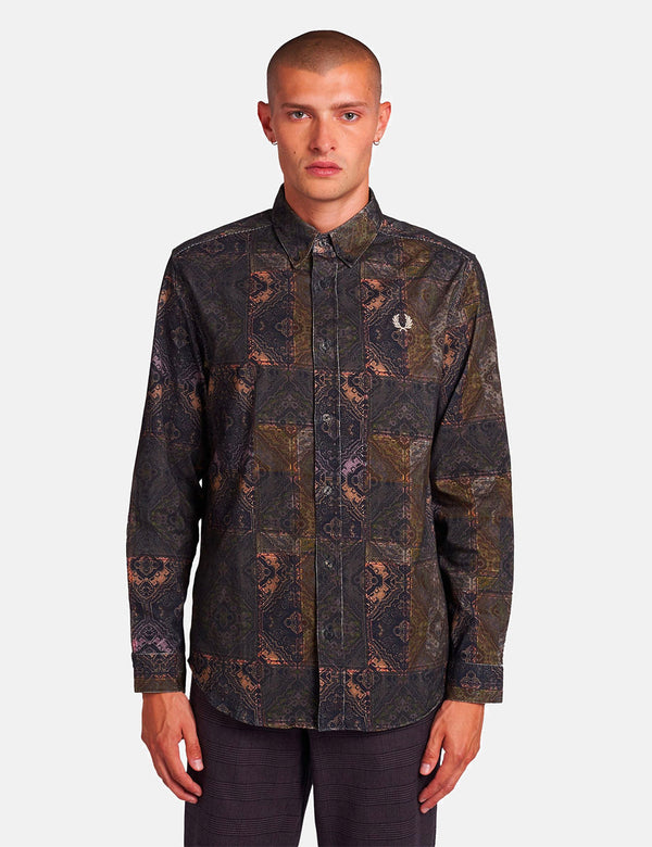 Fred Perry Printed Cord Shirt - Black