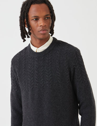 Barbour Crastill Cable Knit Sweatshirt - Charcoal Grey