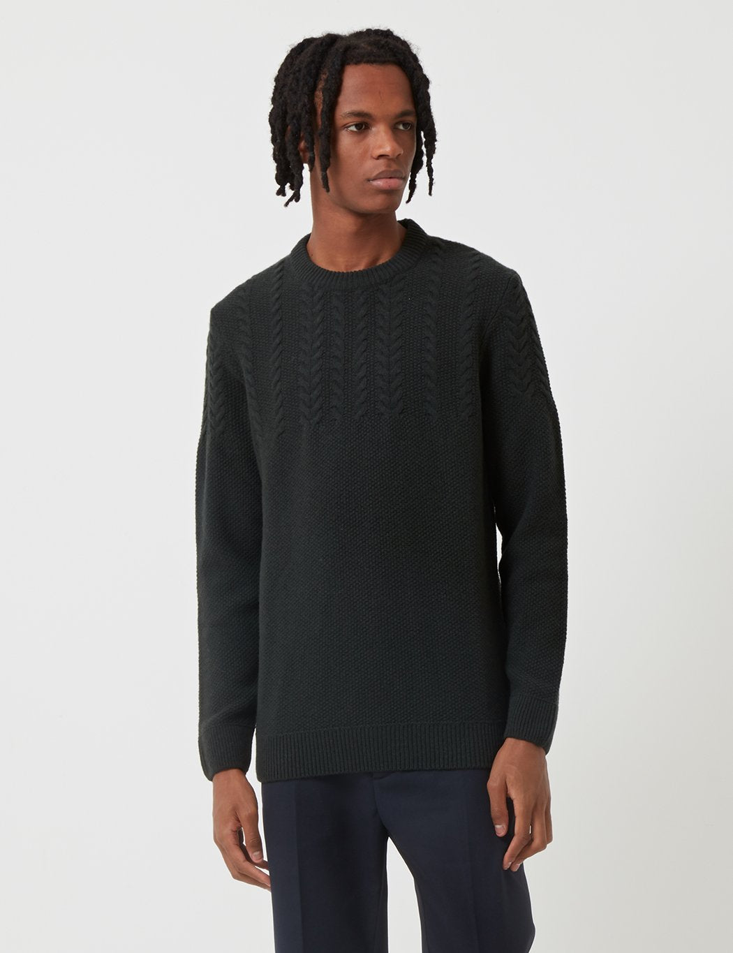 Barbour Crastill Cable Knit Sweatshirt - Seaweed Green