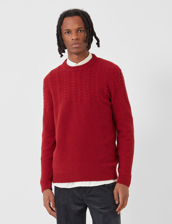 Barbour Crastill Cable Knit Sweatshirt - Rich Red