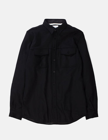 Norse Projects Villads Melton Overshirt - Black