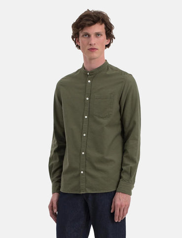 Norse Projects Hans Grandad Ripstop Shirt - Dried Olive Green