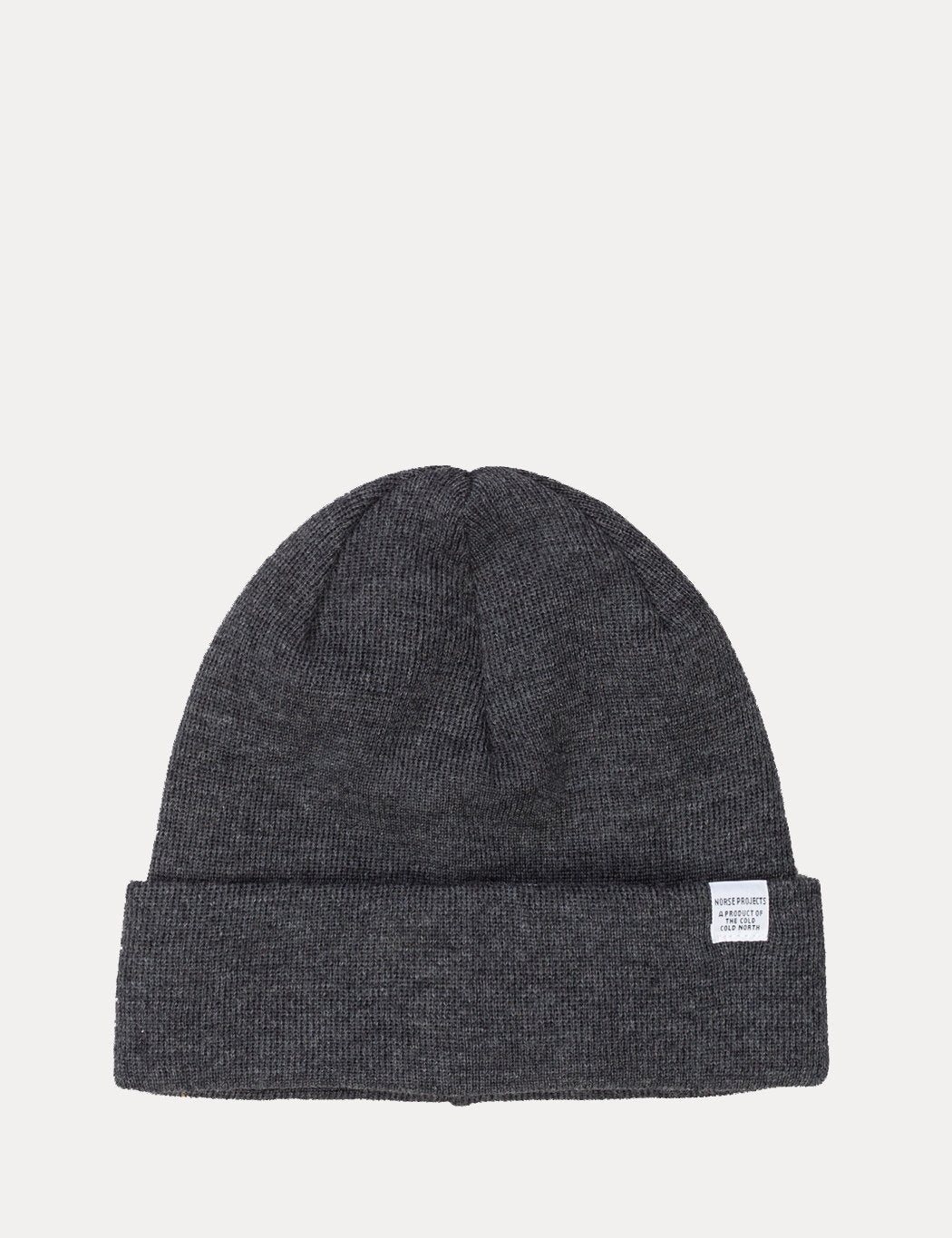 Norse Projects Top Beanie Hat (Wool) - Charcoal Grey Melange
