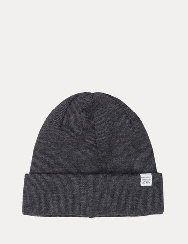 Norse Projects Top Beanie Hat - Charcoal Grey Melange