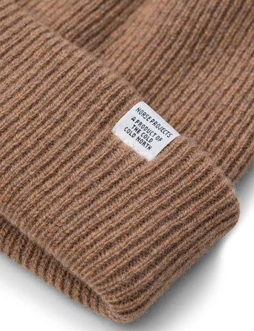 Norse Projects Norse Beanie Hat - Camel Brown