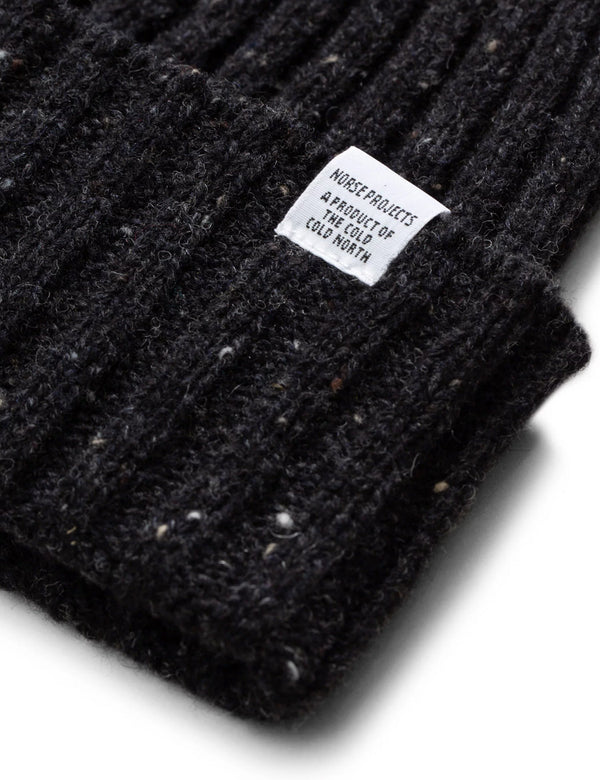 Norse Projects Neps Beanie Hat (Wool) - Charcoal Melange Grey